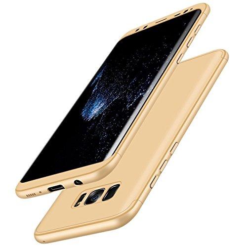 Qissy® Carcasa Samsung Galaxy S8 Plus ,3 in 1 Todo incluido Anti-Scratch Ultra Slim Protective 360 PC Case Cover para Samsung Galaxy S8/S8 + (Samsung Galaxy S8 Plus, Dorado)