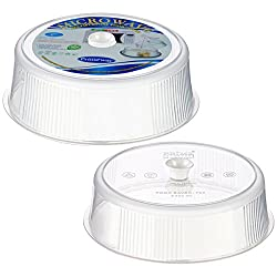 Primeway Microwave Multipurpose Plastic Food Covers, 8.25 and 9.5 inch Dia, 2 Pcs Set, Transparent