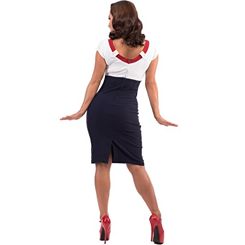 Steady Rockabilly Bleistiftkleid – Katy Pin Up Kleid Dunkelblau Kurzarm - 3