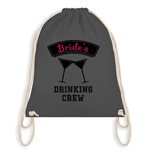 JGA Junggesellinnenabschied - Brides Drinking Crew - Turnbeutel I Gym Bag Dunkelgrau