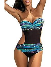 Aleumdr Monokini Badeanzug Damen Neckholder Bademode Sexy Push up Tankini Bandeau mit Bikini Triangle S-XL