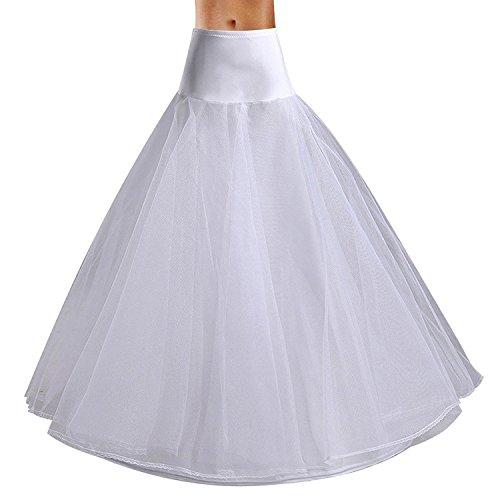 Edith qi Damen Reifrock, 2/3/4 Ringe Unterröcke für Hochzeit Brautkleid, Verstellbar Unterrock Crinoline Petticoat Slip, Eine Größe, für Gr. 34 bis Gr.50