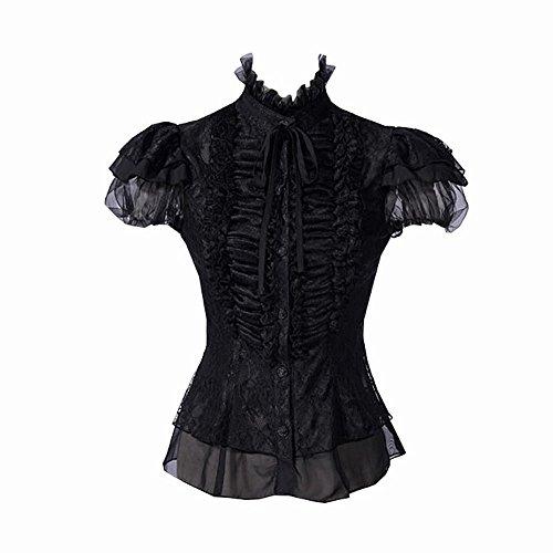 Viktorianische KURZARM-BLUSE Schwarz - BELLA, (Viktorianische Kostüme Themen Halloween)