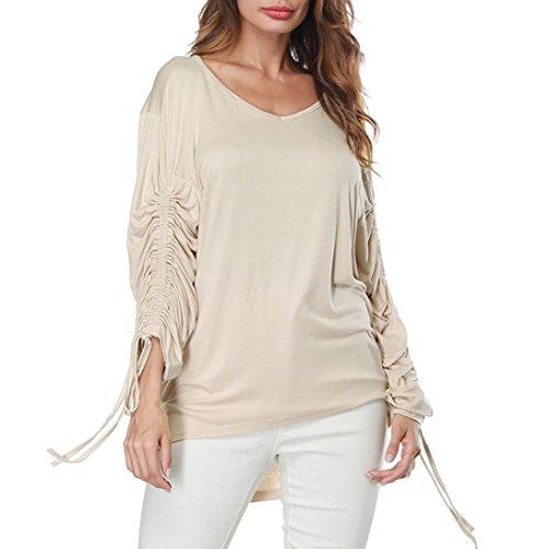JUTOO Frauen V-Ausschnitt Verband Lange Ärmel Reine Farbe Tops Lose T-Shirt Bluse(Beige,EU:44/CN:L)