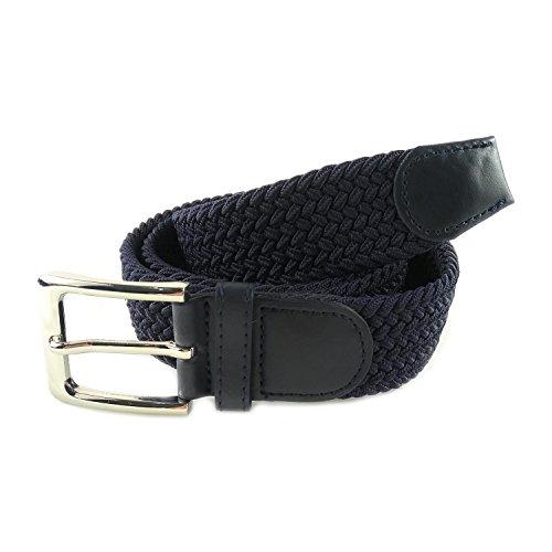 MYB Cinturón elástico trenzado para hombres y mujeres - múltiples colores y tamaños (105 - 110 cm, Azul Navy)