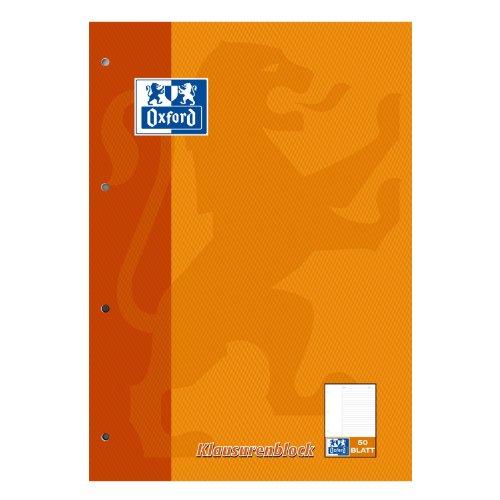 Oxford 100061261 - Block notes A4, a righe con margine bianco a sinistra, 50 fogli, carta ottica 90 g/m², confezione da 5 pezzi, colore: Arancione