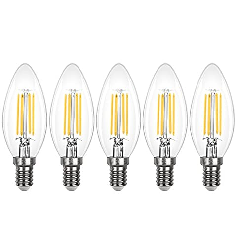 Aglaia E14 Bulb LED 3.5W, 5-Pack SES Candle Light Bulbs, Incandescent Equivalent 40W, 2700K Warm White, 430LM and 360° Beam Angle