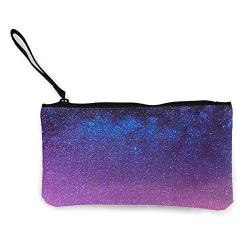 Bargeld Geldbörse, Handy Super Große Kapazität Canvas Tasche Mit Griff, Personalisierte Kosmetische Federmäppchen/Stift Box/Aufbewahrungstasche-Nebula Night Sky Blue Pink (Blue Sky Tie-dye)