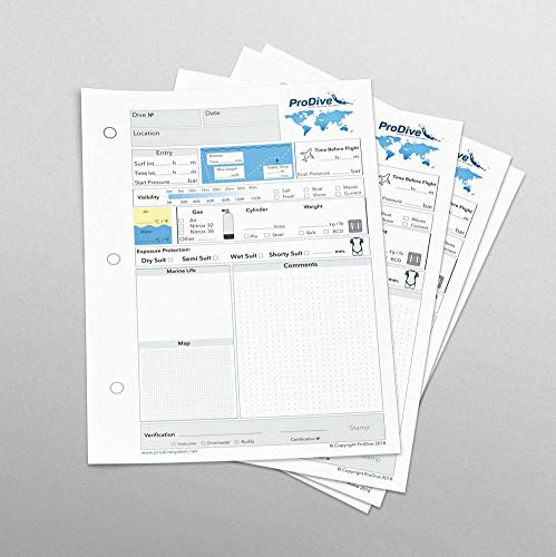 Gerätetauchen Logbuch Tauchlogbuch 25 Seiten 50 Tauchgänge 3-Loch PADI Standard
