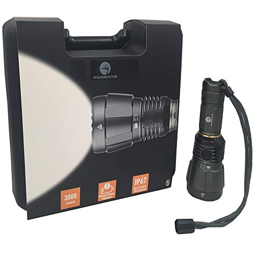 Waidmeister Waidblick Superhelle Kompakt Taschenlampe mit 3.000 Lumen - Cree XHP LED Jagd Militär Outdoor/Nur 17,5 cm und 440g mit Tragekoffer/Wiederaufladbar Wasserdicht nach IP67 WELTNEUHEIT