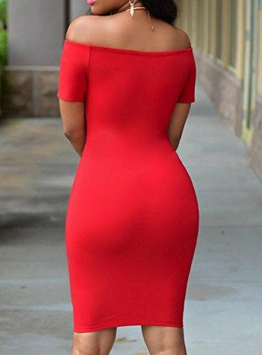 Femmes élégant épaule Off à manches courtes Slim Fit Clubwear Robe moulante Midi Robe Rouge