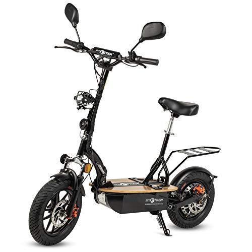 Renton - Patinete/Scooter eléctrico dos ruedas con sillín, plegable, luz LED frontal, retrovisores, supensión, motor 1200W, velocidad hasta 35-40km/h, autonomía hasta 20-25km. Ideal para la ciudad.