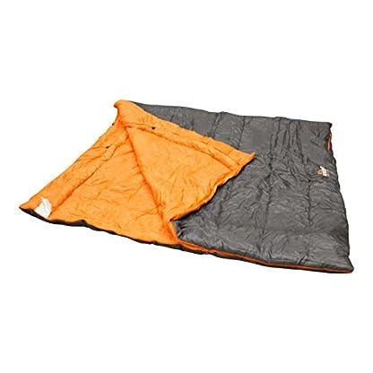 Milestone Camping Unisex's 26750 Envelope Sleeping Bag 3 Season Double Insulation Grey & Orange, Grey 3