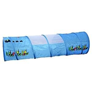 Unterwasserwelt Tunnel Krabbeltunnel 170 x 48 cm hellblau