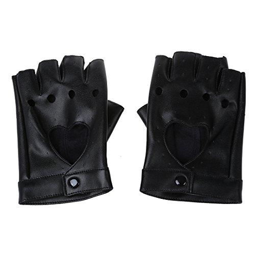 Damen Fingerlose Handschuhe - SODIAL(R)Damen PU Leder Niete Fingerlose Handschuhe Schwarz