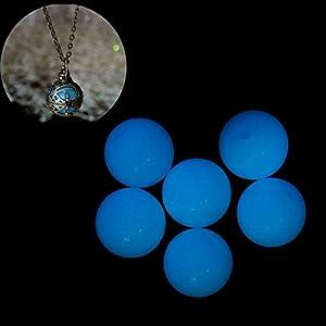 Acryl Perle Leuchtet im Dunkeln Blau ca. 16mm Kette basteln diy nachleuchtend
