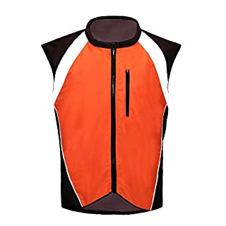 Men's Motorcycle Racing Sleeveless Jacket Safety Reflective Vest (XL, ORANGE)