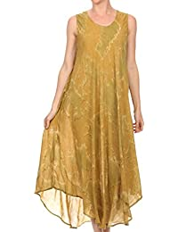 Sakkas Laeila Tie Dye Washed Tall Long Sleeveless Tank Top Caftan Dress/Cover Up