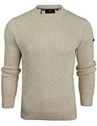 Duck and Cover Mens Honeycombe Stitch Jumper Beam'
