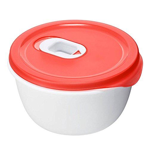 Rotho 7371100203 Mikrowellen-Speiseteller Micro Clever - Mikrowellengeschirr mit tiefem Teller und Deckel - Mit Ventil im Deckel - Mikrowellendose BPA-frei - 1.6 Liter Inhalt pro Menüteller - weiss/rot