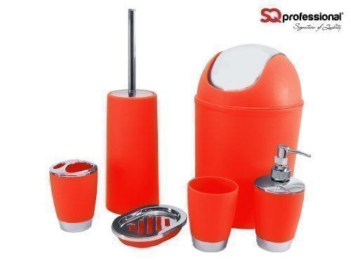 Preisvergleich Produktbild 6pc Bathroom Accessory Set - Red Black Orange Blue Yellow Green Purple White Pink Mint (Red) by SQ Professional