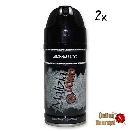 2x MALIZIA UOMO life Urban man deo 150ml deospray deo spray deodorant Edt parfum (Malizia Deo Spray)