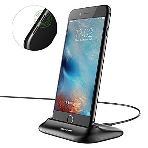 iPhone Chargeur Dock, Hizek 2.4A Maximum Charge Rapide Socle de Charge Station Design en Aluminium pour Appareils Apple avec Port Lightning iPhone 7 / 7 Plus / 6 / 6 Plus / 6s / 6s Plus(Noir)