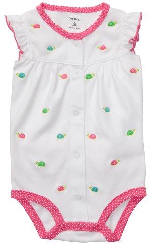 Carters Jumpsuit (Carter's Sommer Baby Spieler Strampler Onesie Mädchen Girl Jumpsuit Einteiler (6 Monate, grün/Weiss))