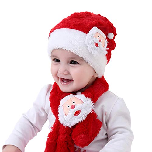 Adeeing 2PCS/Set Baby Christmas Santa Plush Scarf + Cap Suit Cute Cartoon Fleeced Muffler Hat Set
