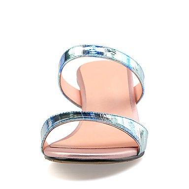 LvYuan Sandali-Ufficio e lavoro Formale Casual-Club Shoes-Quadrato Tacco in cristallo-Pelle-Blu Dorato Blue