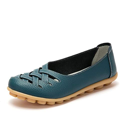 Damen Leder Loafers Mokassins Casual Flat Boot Schuhe Hollow Cut Out Driving Sandalen mit Super Soft Gummi Anti-Rutsch Massage Sohle für Mutter BaojunHT®, Light Blue_b - Größe: 41 EU -