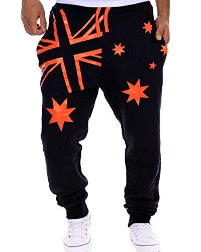 Pantaloni Uomo con Tasconi laterali Harem Pantaloni Sportivi Allenamento slim fit Navy