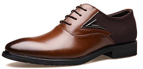 HYLM Pattini casuali di affari di Pattini di cuoio degli uomini rivestiti di punta del piede di affari di cerimonia nuziale dei vestiti di Oxfords Brown