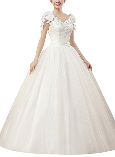 Ruiyige Lace Flower Cap Sleeves verstellbarer Rücken Bandage Bridal Brautkleid Weiß - Cap Sleeves Bridal