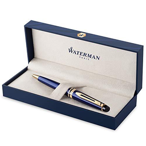 Waterman Expert penna a sfera, blu profondo con finiture dorate, ricarica punta media con cartuccia di inchiostro blu, confezione regalo