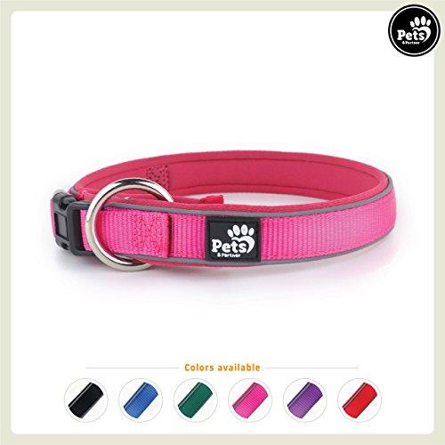 Pets&Partner Hundehalsband aus Neopren, reflektierendes Halsband in verschiedenen Farben für große und kleine Hunde, M, Hot Pink