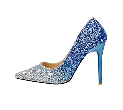 HYLM Donne tacchi alti sottolineato paillettes bocca poco profonda, tacchi alti discoteca scarpe da sposa scarpe da sera Random delivery