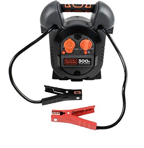 Black- & Decker Jump It J312BE Starthilfe-Ladegerät für KFZ-Motoren, Netzladeadapter, Plus- + Minusklemmen, EIN-Aus-Schalter, USB-Buchse, LED-Anzeige, Auto KFZ PKW Jump Starter 12V /300A 300a Jump Starter