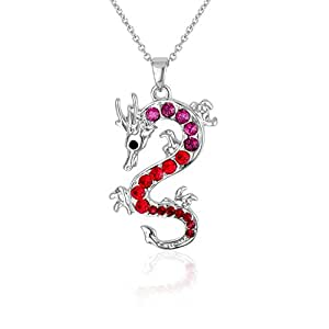 Red Swarovski Crystal Elements Dragon Pendant and Rhodium Plated CRY F205 L Rouge - Blue Pearls
