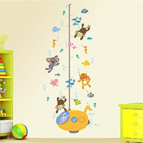 Guooe Kinderzimmer Deko Junge Mädchen Messlatte Kind, Wandaufkleber Wald Affe Tiger Koala Fisch Schwimmen Für Kinderzimmer Kinder Höhe Messen Wachstum Chart Wohnkultur Wandkunst Aufkleber - Wachstum Tür Chart