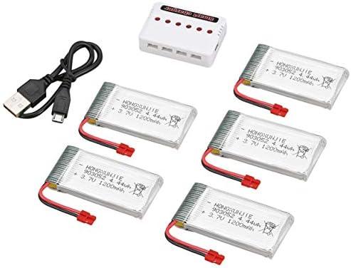 OlvidoF 1200mAh 5pcs 3.7V 1200mAh OlvidoF 25C Lipo Batteries avec 6 en 1 USB Chargeur Kit de Pièces de Rechange Accessoire pour Syma X5HC X5HW Quadricoptère RC Drone 5385d2