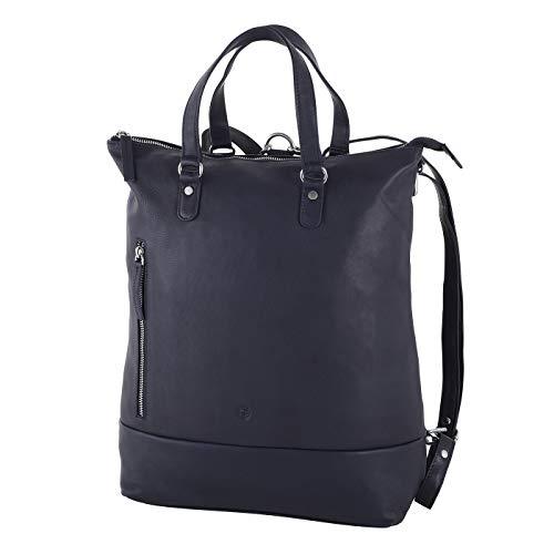 Sattlers & Co. Damen Rucksack Handtasche Dalur aus Leder, als Umhängetasche verwendbar, Lederrucksack mit Laptopfach 15 Zoll (dunkelblau)