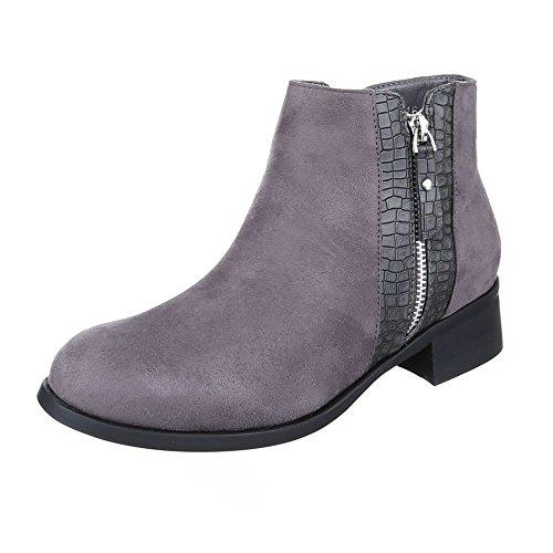 Kostüm Paar Leicht - Ital-Design Komfort Stiefeletten Damen-Schuhe Blockabsatz Leicht Gefütterte Stiefeletten Grau, Gr 36, W116-