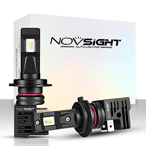 NOVSIGHT Kit Conversione H7 Lampadine Bulbi LED Auto, Faro LED Automatici 10000LM / coppia 55W / coppia 6000K Bianco, Lampade Sostitutive per Lampadine Alogene/Xenon Regolab