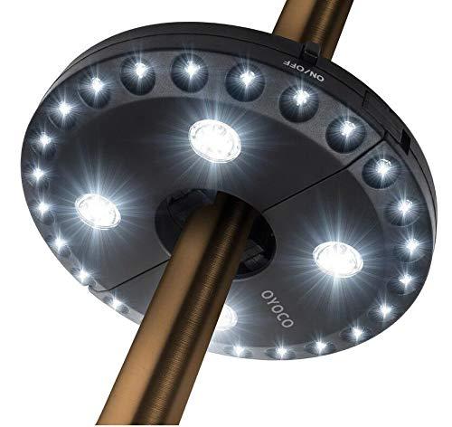 Uonlytech 2PCS Außenschirmleuchte 28LEDs 200LM Schirmmastleuchte für den Außenbereich - Ohne Batterien (Schwarz) -