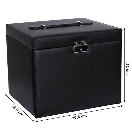 Songmics XXL Schmuckkästchen abschließbar mit spiegel Schublade und Mini-Box 5 Schichten mit 5 Schubladen Schwarz JBC05B - 6