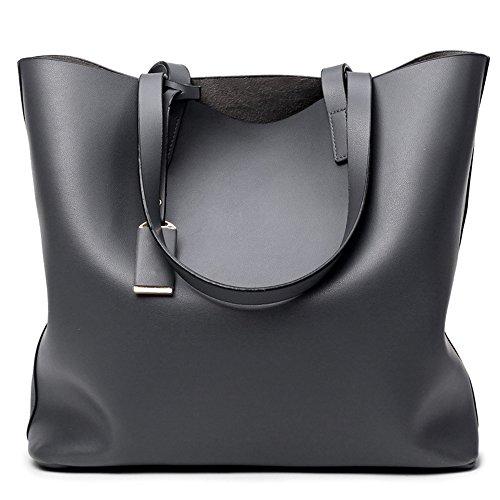 (2 Pezzi )BYD Donna di modo del sacchetto di PU cuoio della borsa alta capacità Handbag Shoulder Bag Tote Bag Grigio