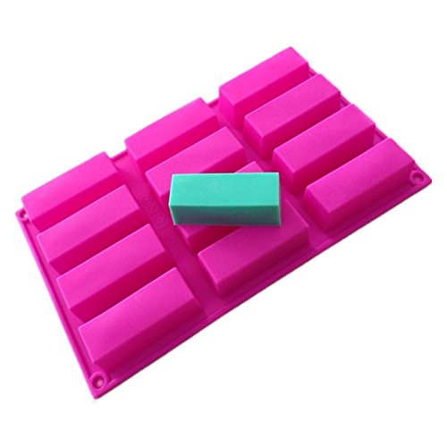 Allforhome 12 Oblongs Rectangle Bar Silicone Cake Baking Mold Cake Pan Muffin Cups Handmade Soap Moulds Biscuit Chocolate Ice Cube Tray DIY Mold
