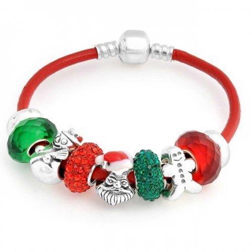 Bling Jewelry Weihnachten Santa Snowman Crystal Themed Europäischen Multi Die Perle Charm Rot Leder Armband Für Damen Silber Barrel Cookie