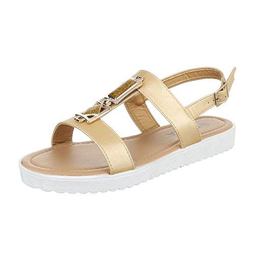 Ital-Design Komfortsandalen Damenschuhe Römersandalen Riemchen Schnalle Sandalen/Sandaletten Gold